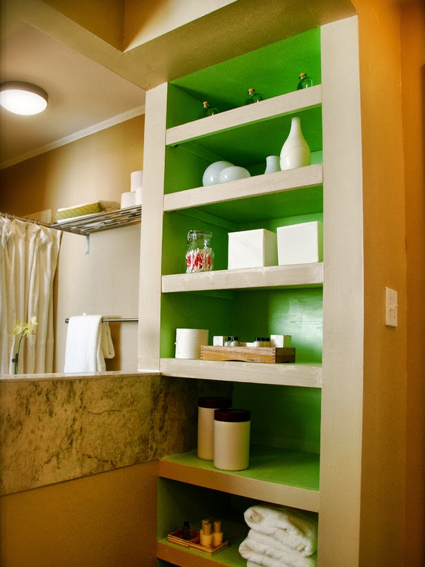 15 ideas for bathroom storage the grey home for Bathroom storage ideas b q