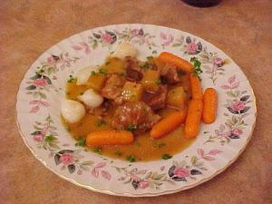 Mijoté de veau à l'érable et aux petits légumes