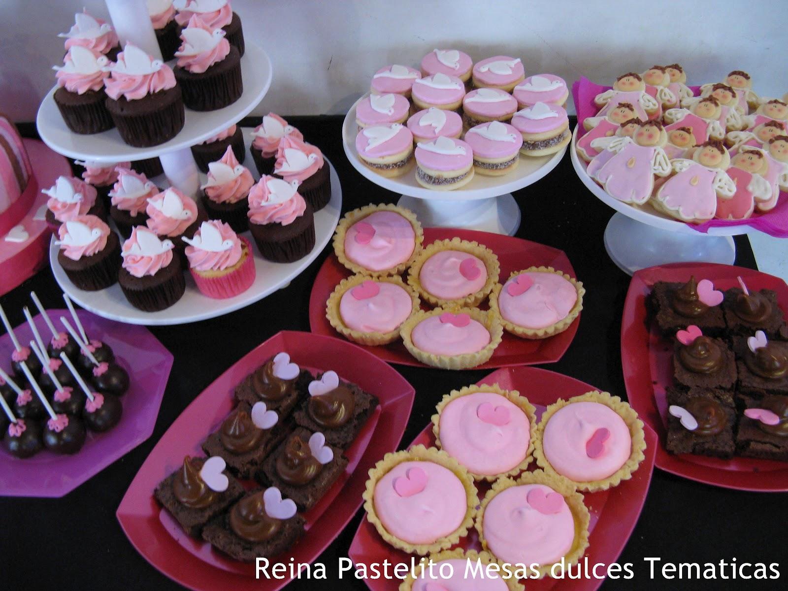 Mesa Dulce Tematica de Comunion para Nena, Torta y cupcakes, galletas