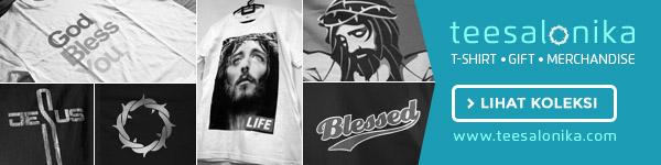 banner koleksi kaos bertema gambar Yesus