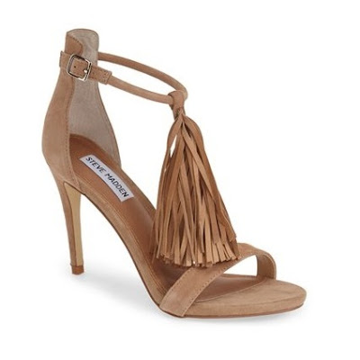 Steve Madden brown heeled sandals with fringe