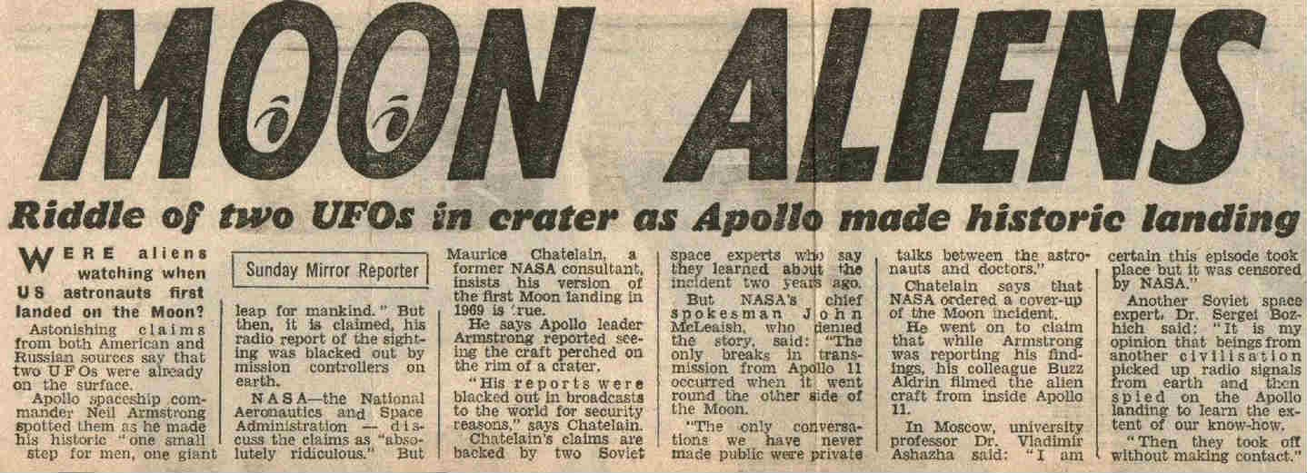 Newspaper reports of the encounter of UFOs with Apollo XI