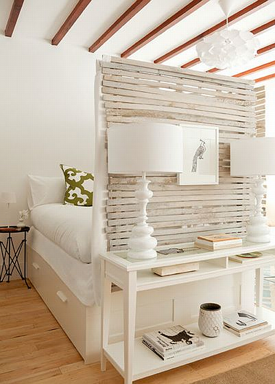 hidden bedroom with white and wood