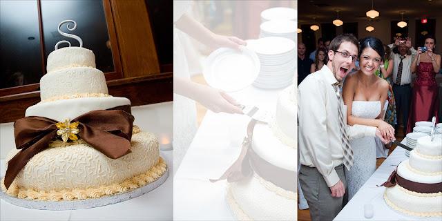 Cutting the Cake Wedding Reception Old Davie School