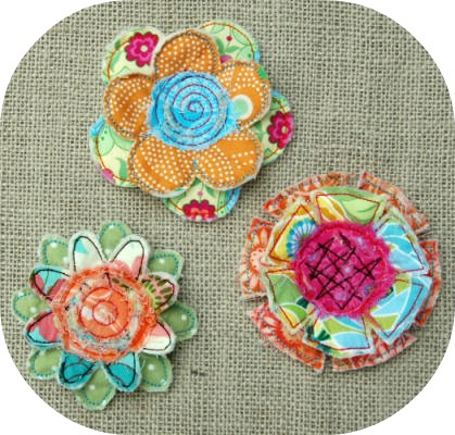 Embroidery Garden New Frayed Layered Flower Set