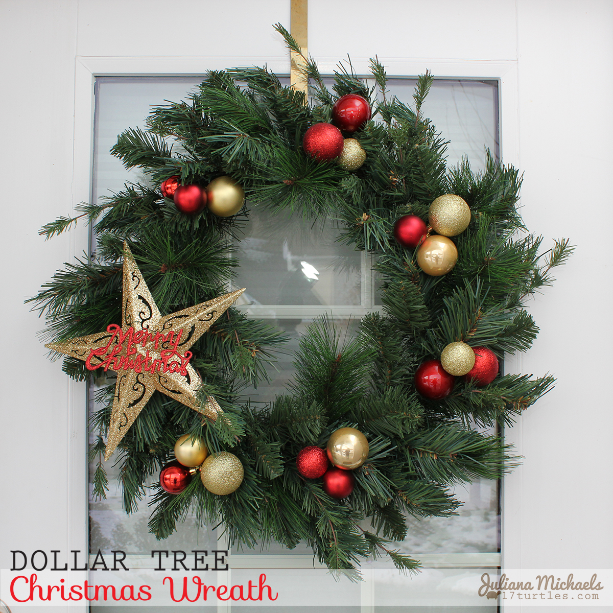 17turtles: Dollar Tree Christmas Wreath and Garland