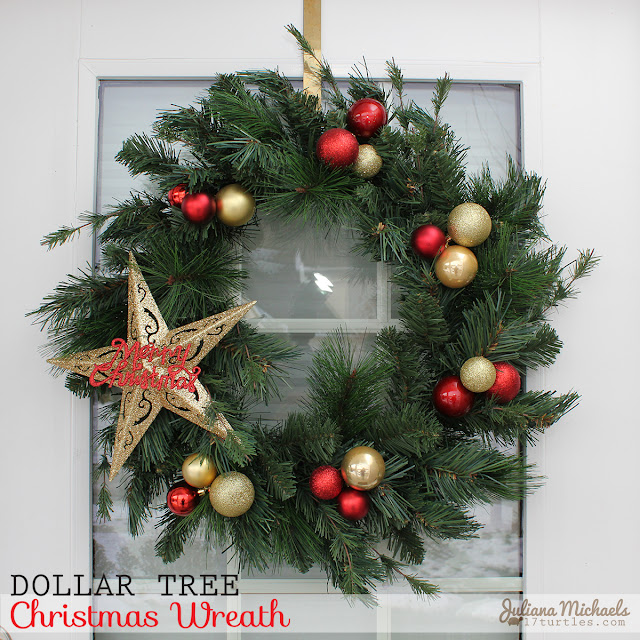 Dollar Tree Christmas Wreath and Garland by Juliana Michaels
