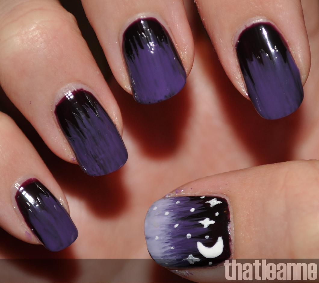 Purple Starry Nights nail art tutorial! | Easy Nail Art