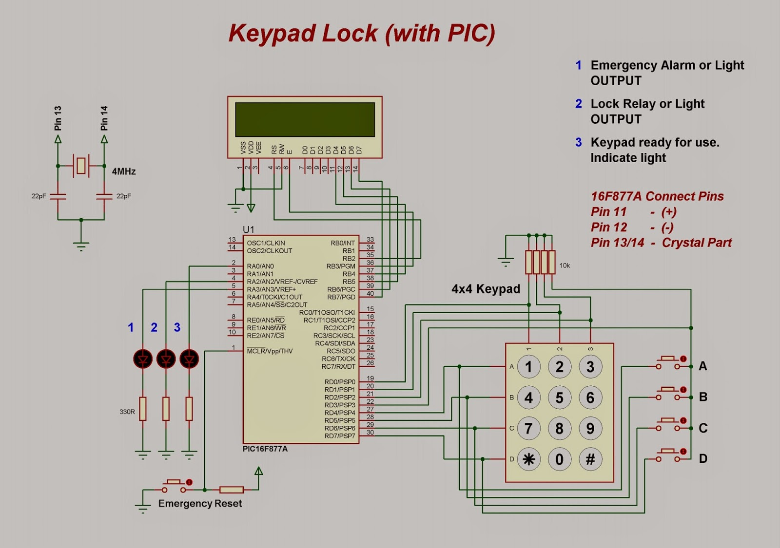 Future Dreams Keypad Base Lock With Pic Electronic Locks Circuits Electronics Tutorial And Schematics Circuit Diagram
