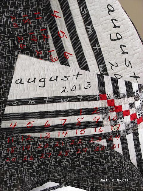 August, 2013, quilter's calendar