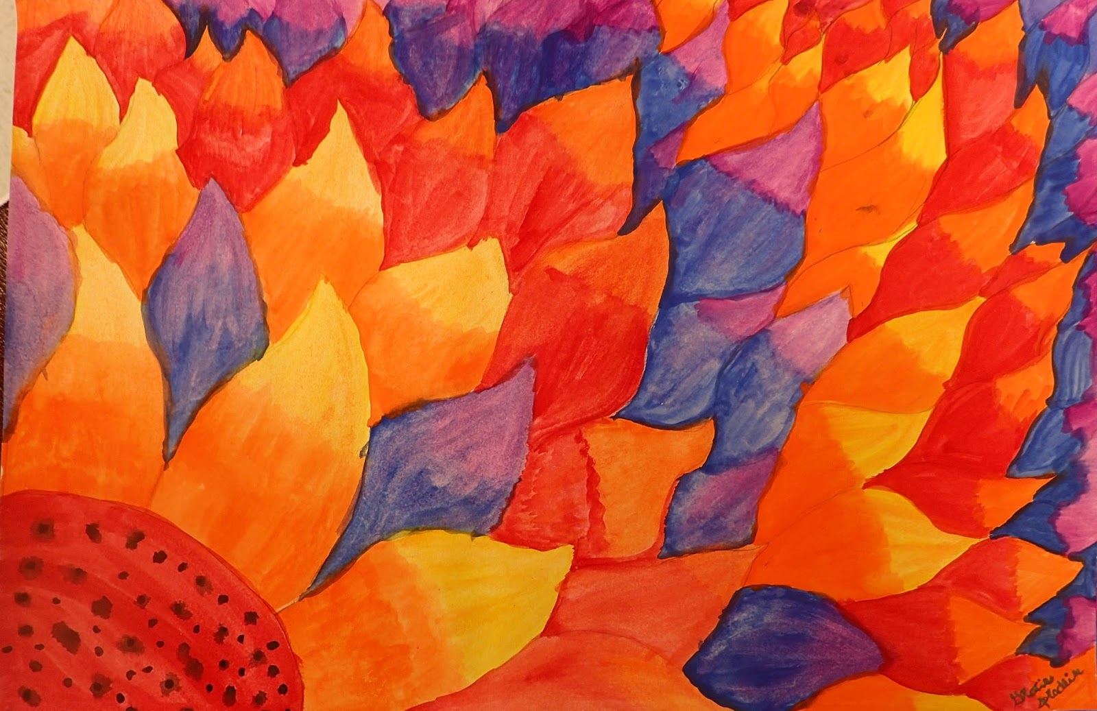 7th Grade Looked At The Flower Paintings Of Georgia OKeeffe And Created A Design Using Radial Symmetry Students Used Analogous Color Blends