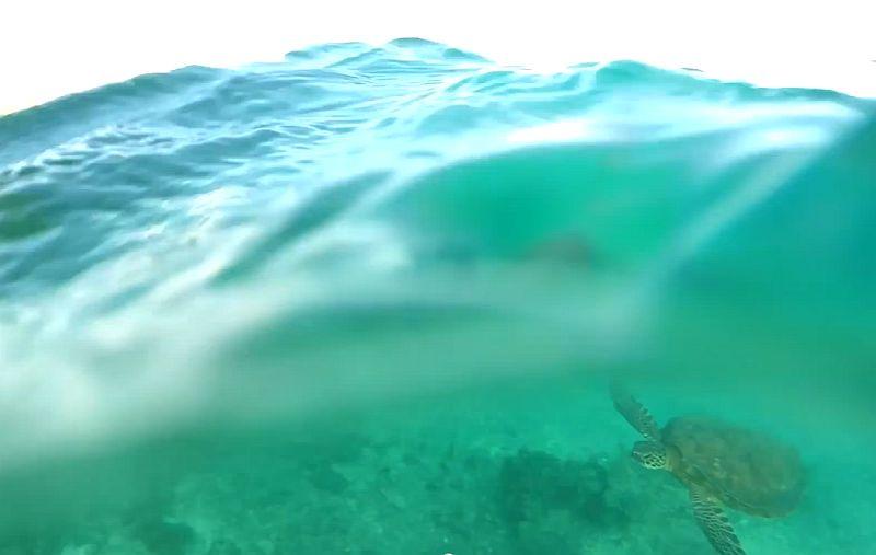 Nur ein ferngesteuertes Flugzeug das über dem Ozean abstürzt und die Unterwasserwelt filmt