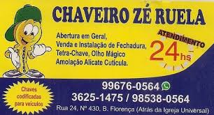 CHAVEIRO ZÉ RUELA 24 HORAS