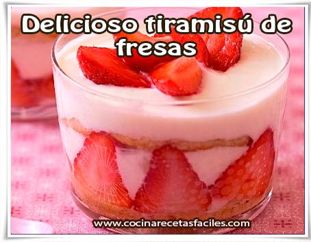 Postres y helados , delicioso tiramisú de fresas