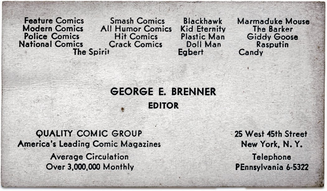 The quality companion companion george brenner the full story george brenners business card from quality comics judging by the titles listed on it this dates to around 1947 when candy began colourmoves