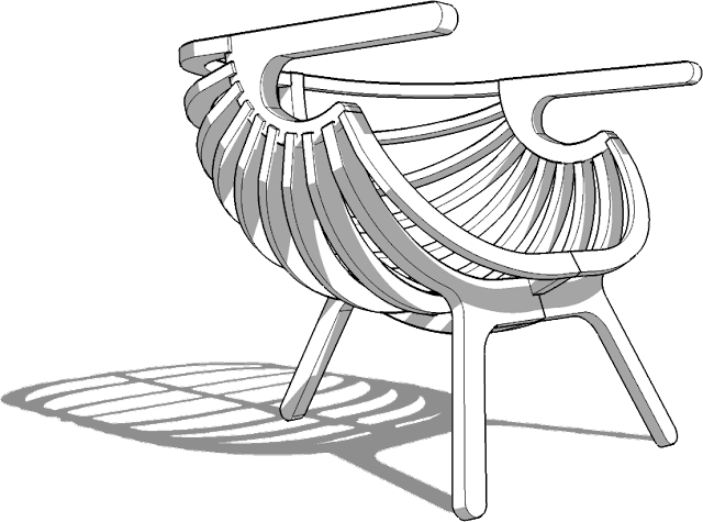 "sketchup 3d model of armchair ""Shell lounge"","