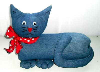 Casa 39 Art Gato Peso De Porta De Pet E Jeans Reciclado