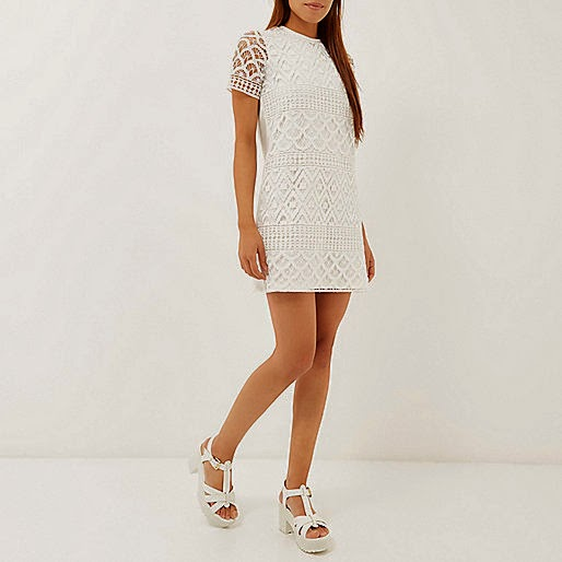 river island white crochet dress,