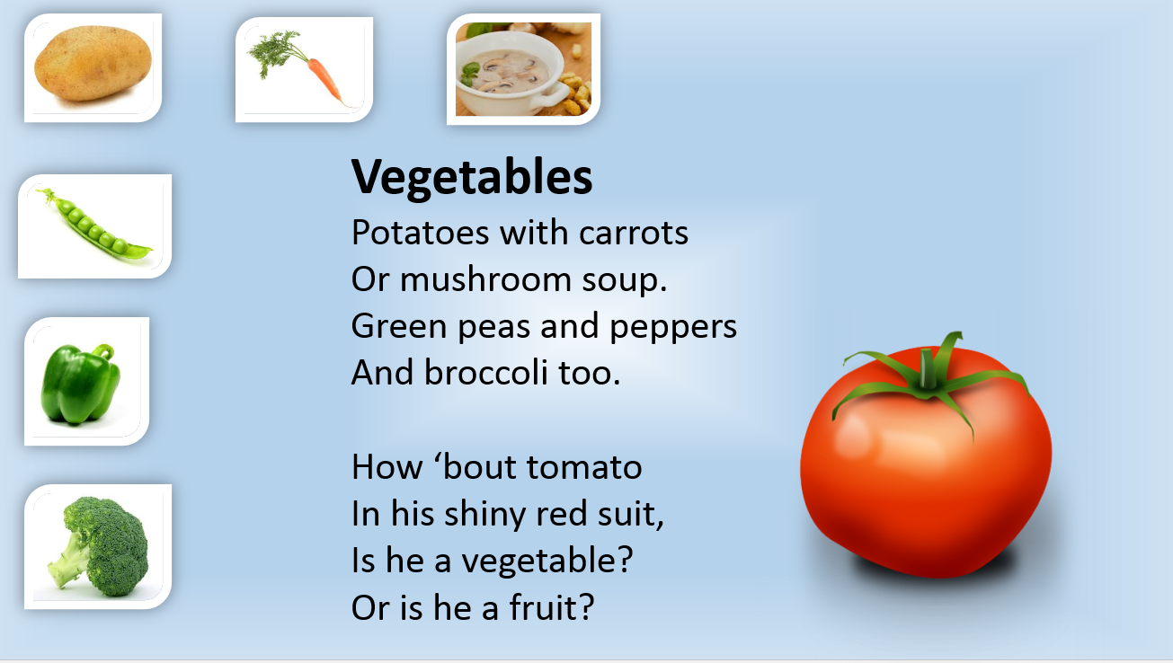 Poetry On Fruits And Vegetables - Healthy vegetables 2017