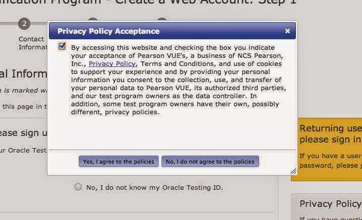 Pop up after clicking on create an account : Oracle certification
