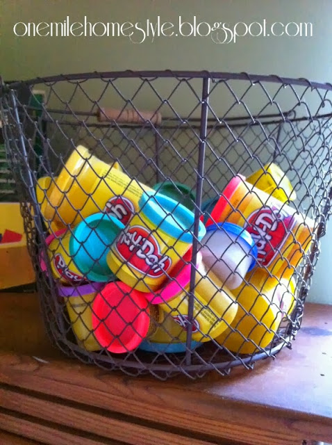 Vintage wire basket to organize kids toys