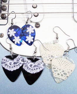 Picks 'n Lace Guitar Pick Earrings by Looking Glass