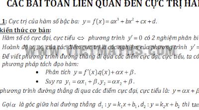 Các bài toán liên quan đến cực trị hàm số, cac bai toan lien quan den cuc tri ham so