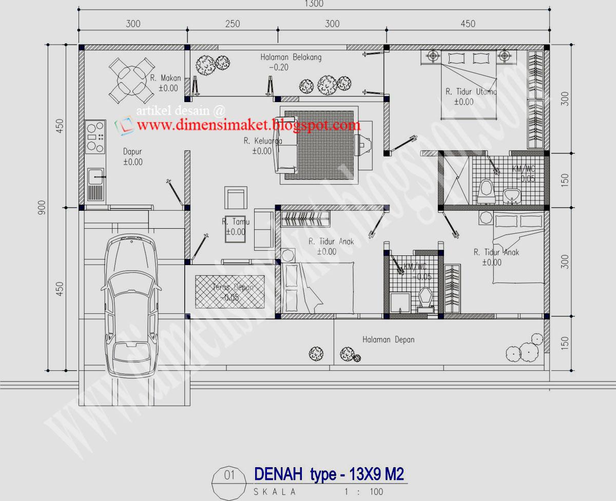 Desain Rumah 003 Contoh Desain Rumah Tinggal 1 Lantai Di Lahan