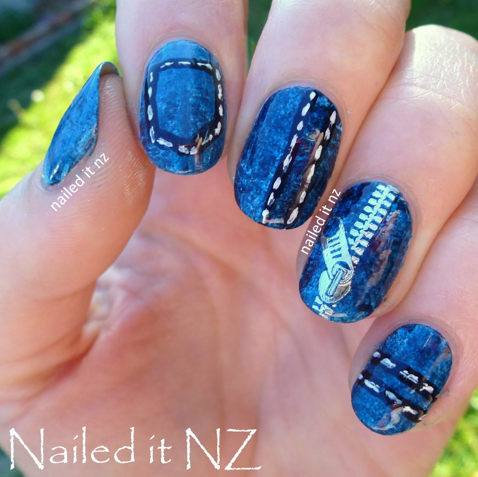 Denim nails zip decor review for born pretty store for Decoration ongle