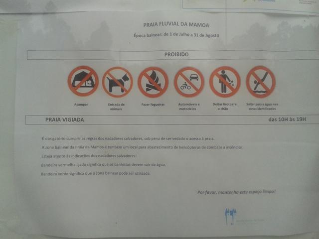 Proibições das Praia Fluvial da Mamoa