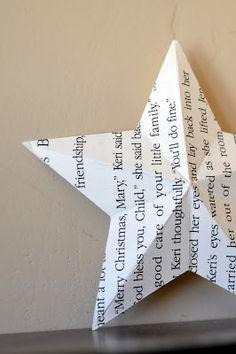 Estrela de Natal feita com Páginas de Livros