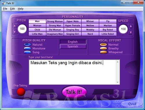 Software Pembaca Tulisan - Microsoft Talkit 2