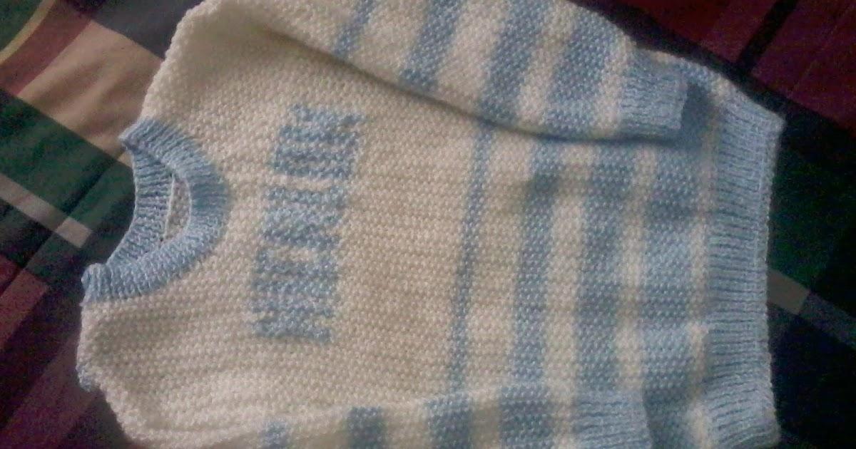 Chompita tejida a dos agujas punto arroz de dos colores - Puntos de dos colores a dos agujas ...