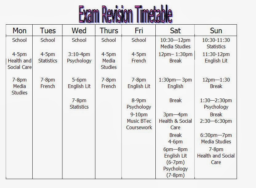 how to make a good school revision timetable