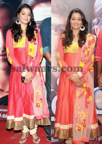 Tamil Actress Peach Silk Salwar