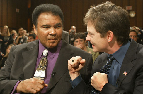 Muhammad Ali and Michael J. Fox