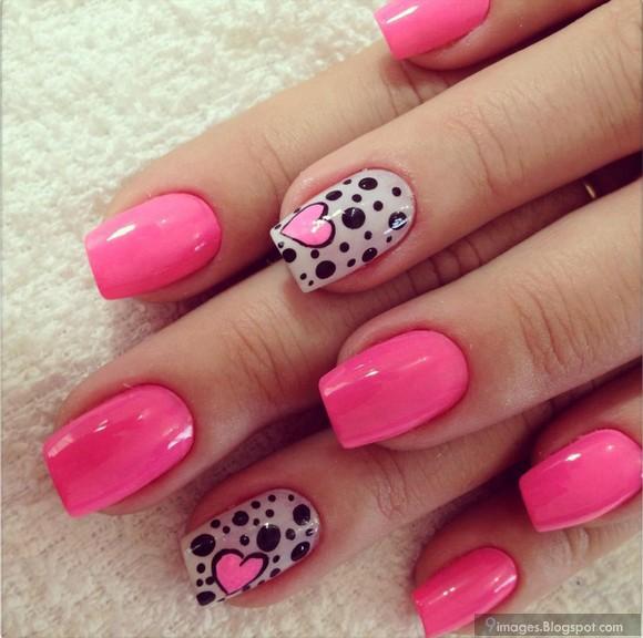 Girly hand pink nail paint art stylish |