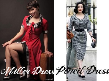1950s style plus size miller dress and plus size Dita style pencil dress
