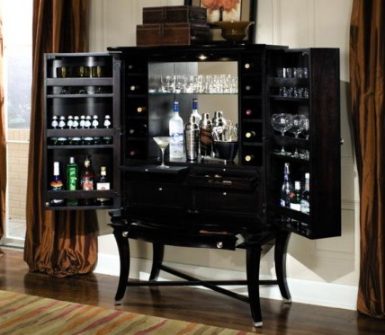 stylish black wood home bar cabinet ideas