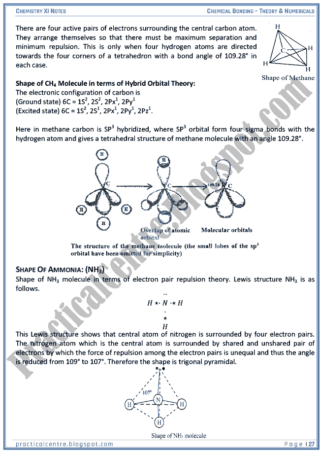 Chemical Bonding - Theory And Numericals (Examples And Problems) - Chemistry XI
