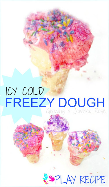 Freezy Dough- Icy COLD super fluffy sensory dough perfect for Summer play!