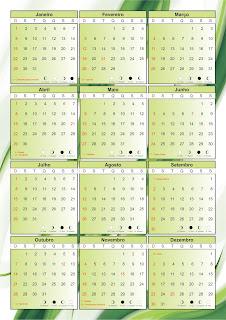 Calendário 2012 vetor corel - Com fases da lua e feriados