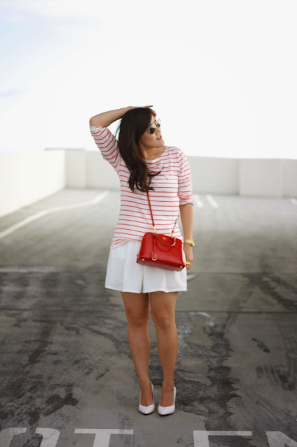 simplyxclassic, bloomingdales, prada bag, crew, jcrew factory, stripes, red and white stripes, white skirt, red cross body bag, blogger, fashion blogger , style, ootd, orange county, california