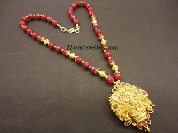 One Gram Gold Red Coral Beads Chains with Pendants Gallery