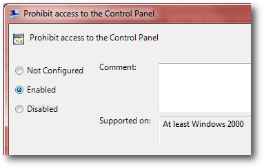 disable control panel