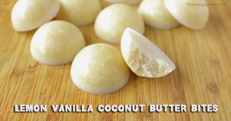 Lemon Vanilla Coconut Butter Bites | therisingspoon.com
