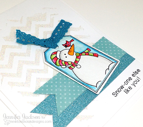 Snowman Tag Card by Jennifer Jackson | Jolly Tags Stamp set by Newton's Nook Designs #newtonsnook