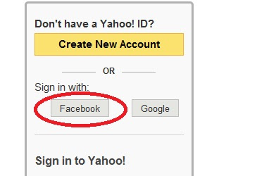 Login on yahoo using facebook