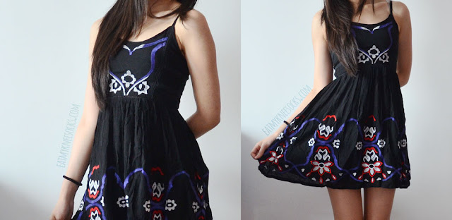 A cute bohemian outfit featuring SheIn's tribal embroidered Free People-style spaghetti strap dress.