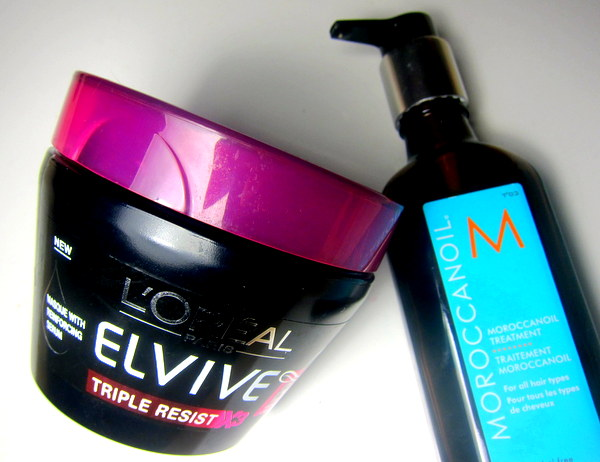 Moroccanoil and L'Oreal Elvive Triple Revive Hair Mask